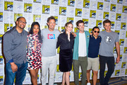 Eric Wallace, Candice Patton, Tom Cavanagh, Danielle Panabaker, Grant Gustin, Carlos Valdes and Hartley Sawyer are seen attending 'The Flash' Photo Call during Comic-Con International at Hilton Bayfront in San Diego, California.