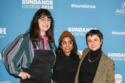 Minhal Baig, Carolina Costa and Mandy Hoffman are seen attending the 'Hala' Premiere during the 2019 Sundance Film Festival at Library Center Theater in Park City, Utah.