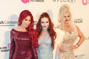 Farrah Abraham, Phoebe Price and Sophia Vegas Wollersheim are seen arriving to the 26th Annual Elton John AIDS Foundation's Academy Awards Viewing Party held at West Hollywood Park in Los Angeles, California.