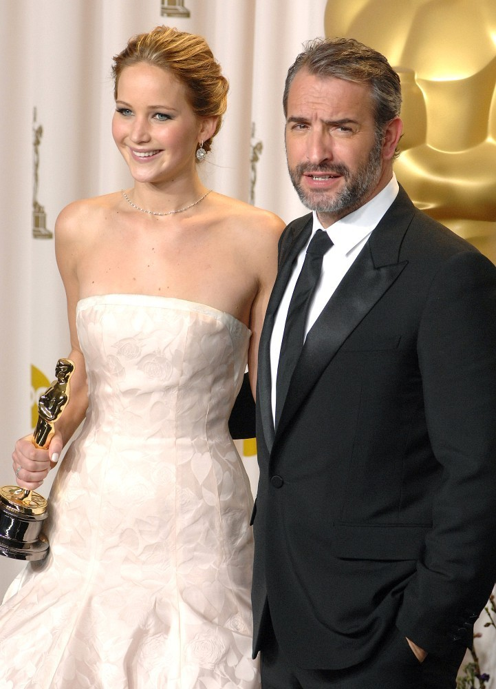 Photo of Jean Dujardin & his friend actress  Jennifer Lawrence - work