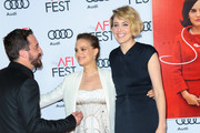 Pablo Larrain, Natalie Portman and Greta Gerwig are seen arriving at AFI FEST 2016 - Centerpiece Gala - Screening of Fox Searchlight Pictures 'Jackie' at TCL Chinese Theatre.