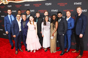 Omid Abtahi, Pablo Schreiber, Sakina Jaffrey, Mousa Kraish, Ian McShane, Demore Barnes, Emily Browning, Ricky Whittle, Crispin Glover, Bruce Langley, Yetide Badaki and Derek Theler are seen attending the premiere of STARZ's 'American Gods' season 2 at Ace Hotel in Los Angeles, California.