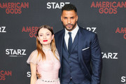 Emily Browning and Ricky Whittle are seen attending the premiere of STARZ's 'American Gods' season 2 at Ace Hotel in Los Angeles, California.