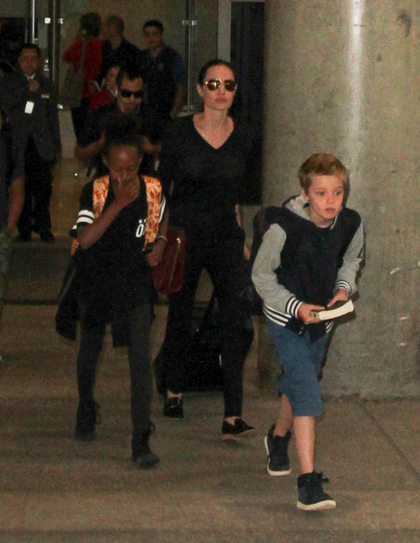 Angelina Jolie and Her Family Are Seen at LAX