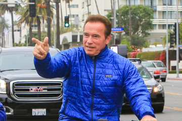 Arnold Schwarzenegger Arnold Schwarzenegger On A Bicycle Ride In Los Angeles