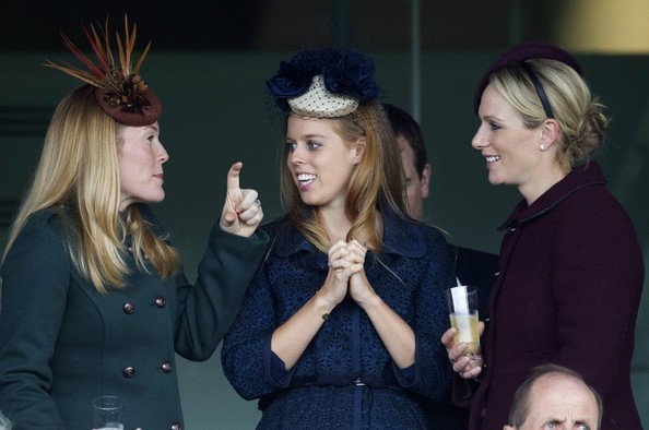 20th October, 2012:  Ascot races today. Here, Zara Phillips watches the races alongside Autumn Phillips and Princess Beatrice.