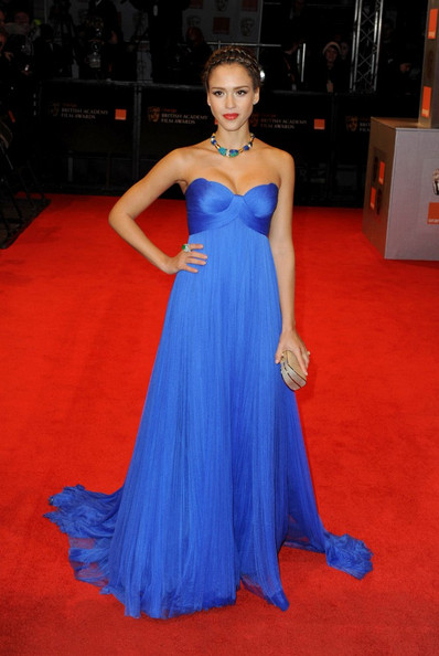 In This Photo: Jessica Alba. Red carpet arrivals for the 2011 BAFTA (British