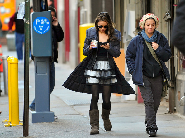 Mila Kunis Crew members escort talent to the set of 'Black Swan'.