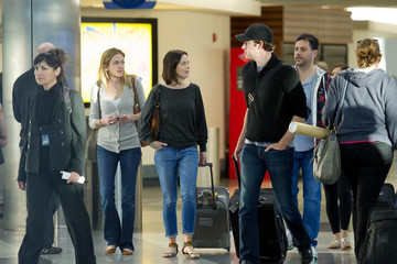Jimmy Kimmell Emily Blunt and John Krasinski at LAX