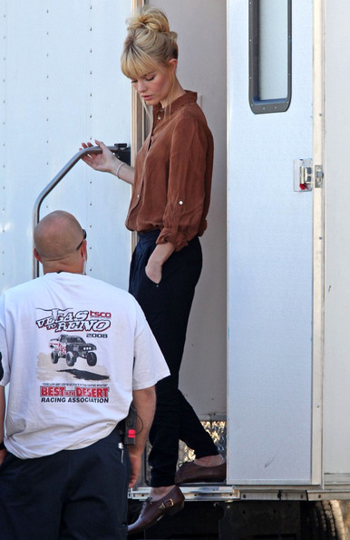 "Kate Bosworth and Krysten Ritter step out of their trailers as they wait to film scenes for the upcoming movie ""BFF and Baby""."