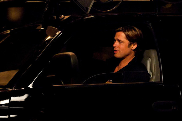 Brad Pitt Brad Pitt and Robin Wright Penn film car scenes for their upcoming ...