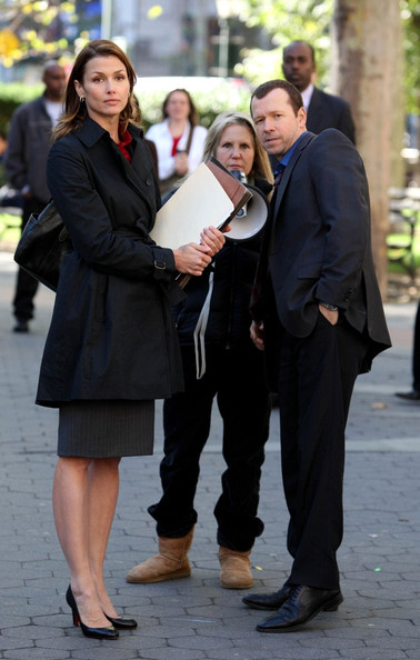 "Bridget Moynahan and Donnie Wahlberg film CBS's ""Blue Bloods"" at the courthouse on Center St."