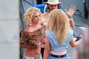 Britney Spears is seen on the set of her music video.