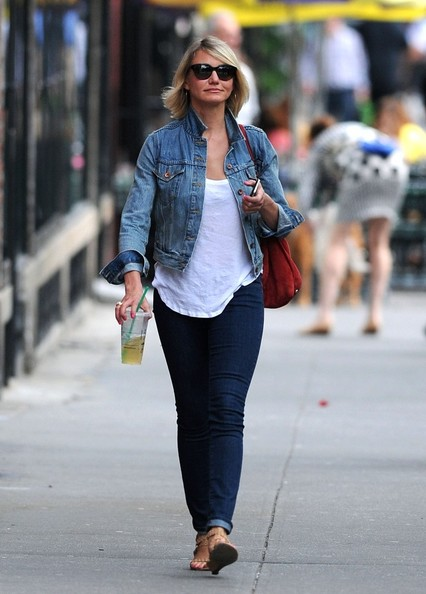 BYLINE: EROTEME.CO.UK.Cameron Diaz looks casual chic as she pops the collar of her denim jacket while out with a green tea in the West Village.