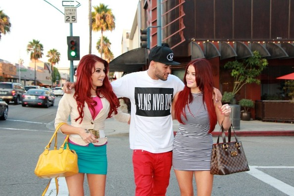 Carla and Melissa Howe hang out with Don Benjamin in Beverly Hills on August 14, 2013.