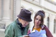 Woody Allen and Selena Gomez are seen on the movie set of the 'Untitled Woody Allen Project'.