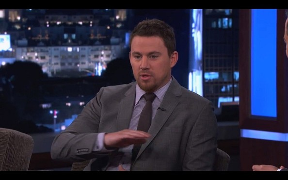 Channing tatum stops by jimmy kimmel live in this photo channing tatum