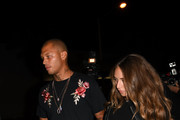 Chloe Green, Jeremy Meeks and Jonathan Cheban, also known as Food God, leaving Craig's Restaurant.