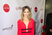 Kelley Jakle is seen attending 'Christmas Harmony' Premiere at Harmony Gold Theatre in Los Angeles, California.