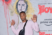 Jessie T. Usher is seen attending 2019 Comic-Con International - Red Carpet For 'The Boys' in San Diego, California.
