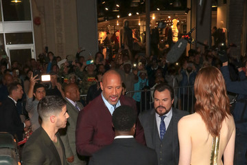 Dwayne Johnson Karen Gillan Meg Donnelly attends the premiere of Columbia Pictures' 'Jumanji: Welcome To The Jungle' held at the TCL Chinese Theater