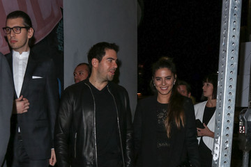 Eli Roth Lorenza Izzo Celebrities Arrive at the Premiere of 'The Hateful Eight'