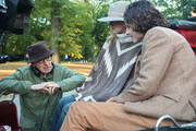 Woody Allen, Elle Fanning and Timothee Chalamet are seen on the movie set of the 'Untitled Woody Allen Project'.