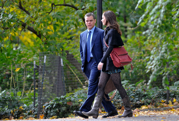 Emily Blunt and Matt Damon have an early start as they film scenes for 'The Adjustment Bureau' at Fort Tryon Park in the Morningside Heights section of Manhattan.