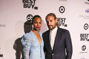 Zoe Saldana and Marco Perego are seen attending the Eva Longoria Foundation Dinner Gala held at Four Seasons Hotel Los Angeles at Beverly Hills in Los Angeles, California.