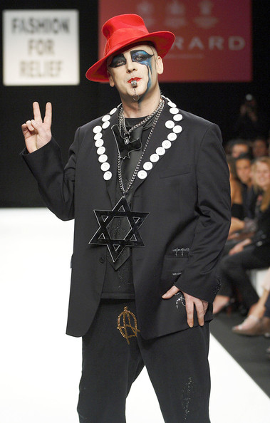 Boy George Celebs walk the runway and observe the styles presented at the Fashion For Relief. Fashion For Relief. In This Photo: Boy George