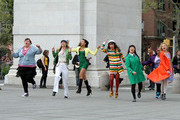 """The cast of """"Glee"""" takes over Washington Square Park as they film a song-and-dance sequence."""