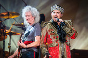 Adam Lambert and Brian May are seen performing at the Global Citizen Festival 2019.