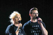 Hugh Jackman and Deborra-Lee Furness.are seen speaking at the Global Citizen Festival 2019.