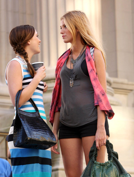 Leighton Meester Leighton Meester and Blake Lively laugh together on the