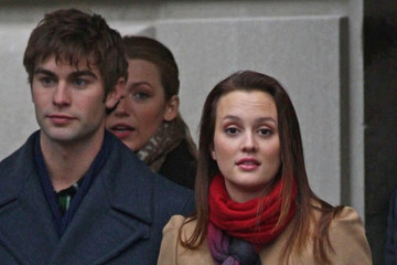 Leighton Meester Chace Crawford 'Gossip Girl' Films Near Central Park