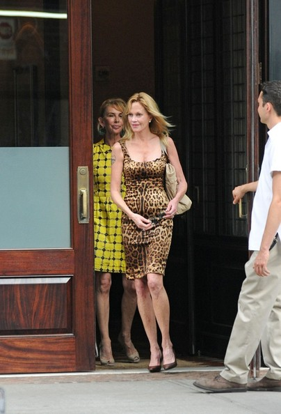 Melanie Griffith has lunch with Trudie Styler at a hotel in Tribeca.