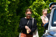 Hilary Duff and Matthew Koma with daughter Banks Violet Bair are seen in Los Angeles, California.