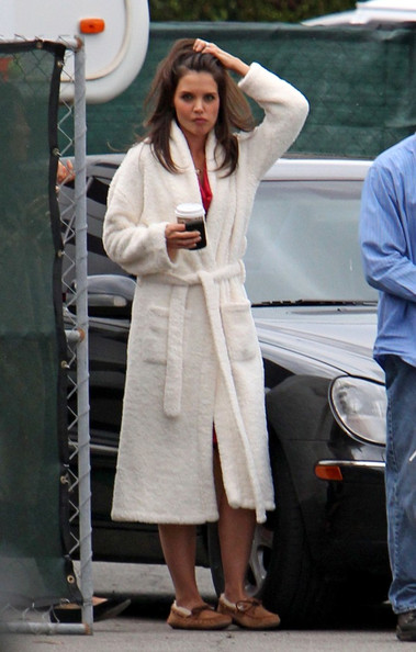"Katie Holmes wears a bathrobe around the set of her upcoming movie ""Jack and Jill"" at the SLS Hotel."