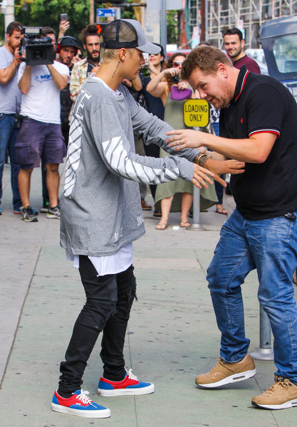 Justin Bieber Shoots a Scene for 'The James Corden Show'