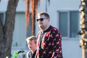 James Corden and his son, Max are seen in Los Angeles, California.