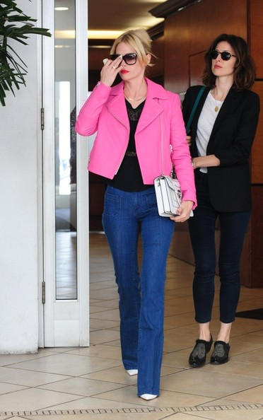 January Jones Goes Out In Hot Pink