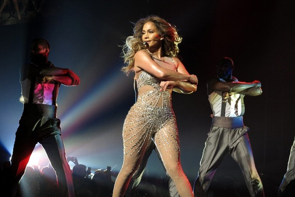 Jennifer Lopez on stage at the Dance Again World Tour