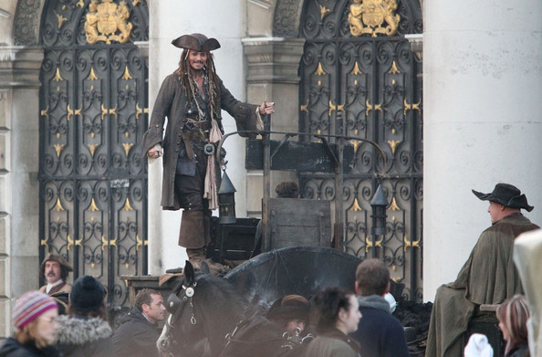Johnny Depp Actor Johnny Depp is seen filming scenes for the up and coming Pirates Of The Caribbean film, filming took place on location at the Royal Naval College in Greenwich.