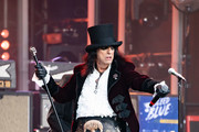 Alice Cooper is seen performing with his band Hollywood Vampires at 'Jimmy Kimmel Live' in Los Angeles, California on June 13, 2019.