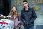 Jon Bernthal and Giorgia Whigham are seen on the set of the Marvel's 'The Punisher' in Douglaston.