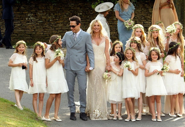 Kate Moss weds Jamie Hince at St. Peter's Church in Little Faringdon in the Cotswolds. Kate's daughter Lila Grace was one of her 12 bridesmaids.