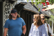 Katherine Schwarzenegger, her brother, Christopher and her mother, Maria Shriver are seen in Los Angeles, California.