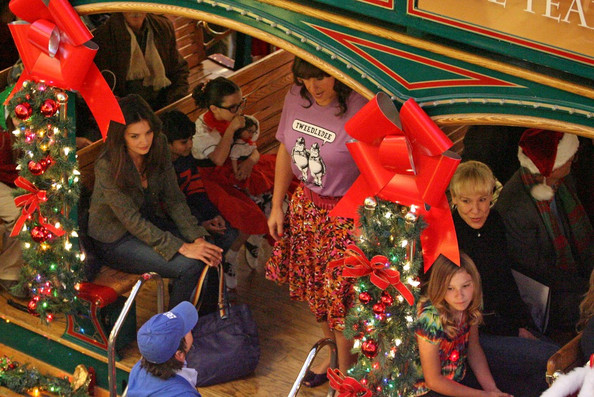 """Katie Holmes and Adam Sandler film a Christmas scene for """"Jack and Jill"""" at the Grove shopping mall in Los Angeles."""