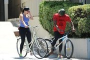 Kelly Brook and David McIntosh Ride Bikes
