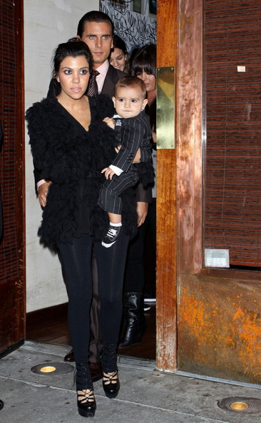 Kourtney Kardashian, Scott Disick and their son Mason (b. December 14, 2009)host a small birthday dinner for Kim Kardashian at Via dei Mille .